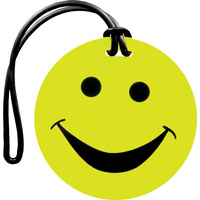 Luggage Tag Smiley Neon Yellow