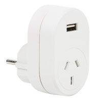 Edge AUST. to EURO Travel Adaptor with USB  - 1 Amp Total
