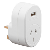 Edge AUST. to UK Travel Adaptor with USB - 1 Amp Total