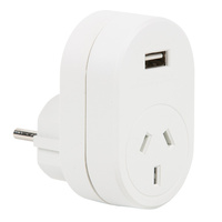 Edge Euro Adaptor with 1 Amp USB charger