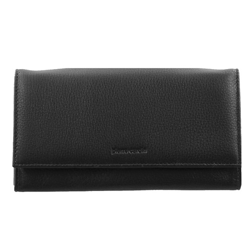 Pierre Cardin Soft Italian Leather Ladies Flap Over Wallet - BLACK